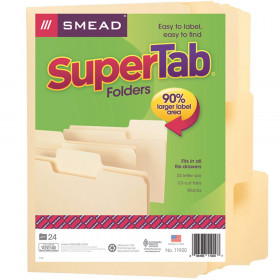 Smead SuperTab File Folder, Oversized 1/3-Cut Tab, Letter Size, Manila, 24 Per Box
