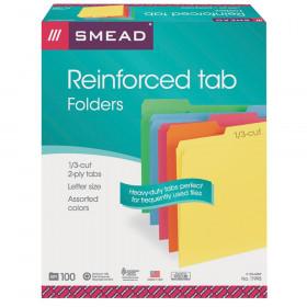 File Folders, Reinforced 1/3-Cut Tab, Letter Size, Assorted Colors, 100 per Box