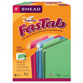Erasable FasTab Hanging File Folder, 1/3-Cut Built-In Tab, Letter Size, Assorted Colors, 18 Per Box