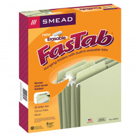 Smead Erasable FasTab Hanging File Folder, 1/3-Cut Built-In Tab, Letter Size, Moss, 20 per Box