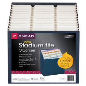 Smead Stadium File, Alphabetic/ Monthly/ Daily, Household/ Blank Labels, 12 Pockets, Letter Size, Navy