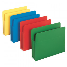 "Poly File Pocket, Straight-Cut Tab, 3-1/2"" Expansion, Letter Size, Assorted Colors, 4 Per Box"