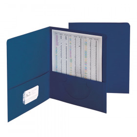 Two-Pocket Heavyweight Folder, Up to 100 Sheets, Letter Size, Dark Blue, Pack of 25