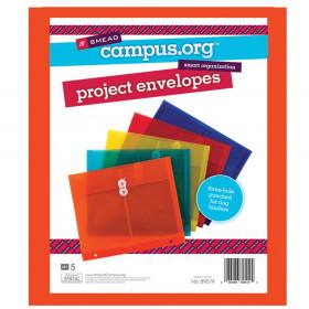 "Project Envelope, 1-1/4"" Expansion, String-Tie Closure, Side Load, Letter Size, Pack of 5"