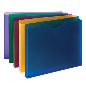 """Smead Poly File Jacket, Straight-Cut Tab, 1"""" Expansion, Letter Size, Assorted Colors, 10 Per Pack"""