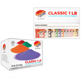 Sandtastik Colored Sand Classroom Pack, 1 Pound Bags, Assortment 1, Set of 12