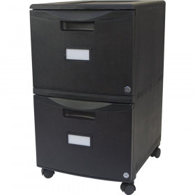 Storex 2Drawer Mobile File Cabinet W Lock Legal Letter Black