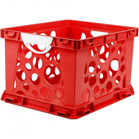 Premium File Crate with Handles, Classroom Red