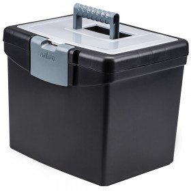 Portable File Box with XL Storage Lid, Black