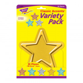 I  Metal Stars Classic Accents Var. Pack, 36 ct