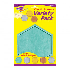 I  Metal Hexagons Classic Accents Var. Pack, 36 ct