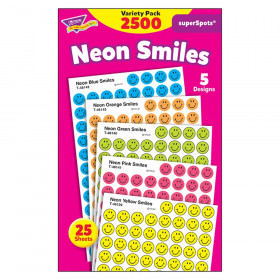 Neon Smiles superSpots Stickers Variety Pack, 2500 ct
