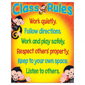 """Class Rules Monkey Mischief Learning Chart, 17"""" x 22"""""""
