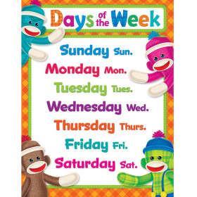 Days of the Week Sock Monkeys Learning Chart