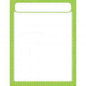 Polka Dots Lime Learning Chart