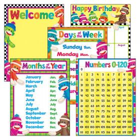 Classroom Basics Sock Monkeys Learning Charts Combo Pack