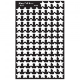 Silver Foil Stars superShapes Stickers-Foil