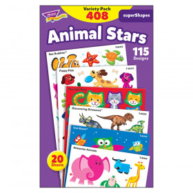 Animal Stars superShapes Stickers-Large VarPk, 408ct