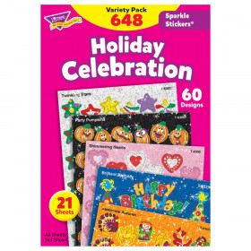 Holiday Celebration Sparkle Stickers Variety Pack, 648 ct