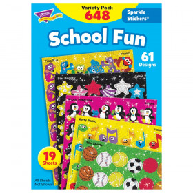 School Fun Sparkle Stickers Variety Pack, 648 ct