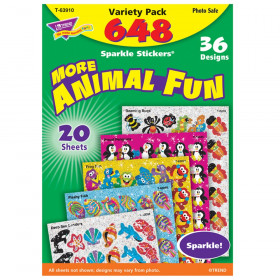 Animal Fun Sparkle Stickers Variety Pack, 656 ct