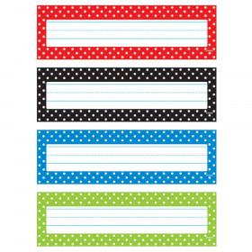 Polka Dots Desk Toppers Name Plates Var. Pk., 32 ct