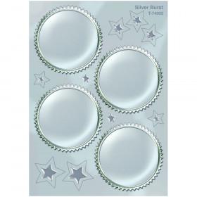 Silver Burst Award Seals Stickers