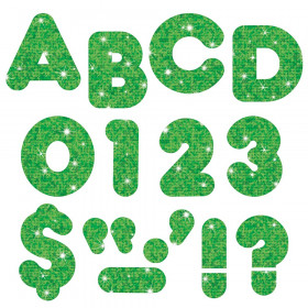 Green Sparkle 3-Inch Casual Uppercase (EN/SP) Ready Letters®