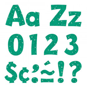 Teal Sparkle 4-Inch Playful Uppercase/Lowercase Combo Pack Ready Letters®