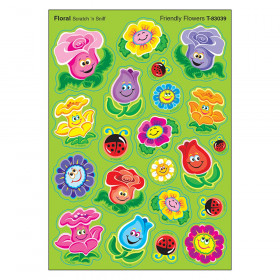 Friendly Flowers/Floral Mixed Shapes Stinky Stickers, 84 Count