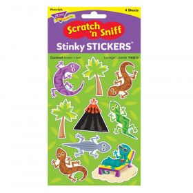 Loungin' Lizards/Coconut Mixed Shapes Stinky Stickers, 36 ct.