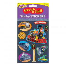 Terrific Trains/Licorice Mixed Shapes Stinky Stickers, 40 ct.
