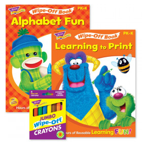 Alphabet Fun & Learning to Print Books and Crayons Reusable Wipe-Off Activity Set