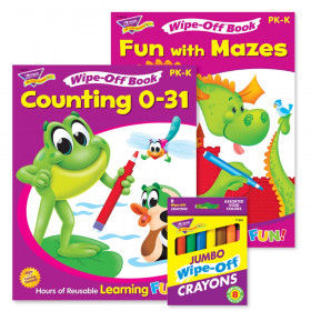 Counting 0-31 & Fun With Mazes Books and Crayons Reusable Wipe-Off Activity Set