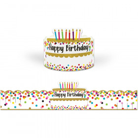 Confetti Happy Birthday Crowns, Pack of 30
