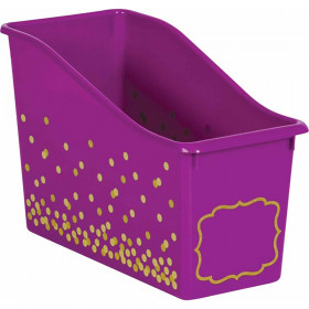 Purple Confetti Plastic Book Bin