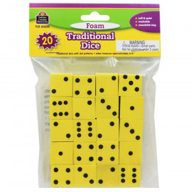 "Foam Traditional Dice, 0.75"", Pack of 20"