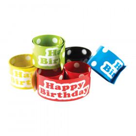 Polka Dots Happy Birthday Slap Bracelets, 10/Pack