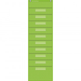 "Lime Polka Dots 10 Pocket File Storage Pocket Chart (14"" x 58"")"