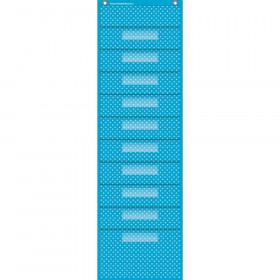 "Aqua Polka Dots 10 Pocket File Storage Pocket Chart (14"" x 46.5"")"