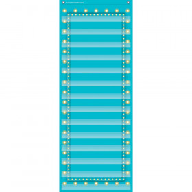 "Light Blue Marquee 14 Pocket Chart (13"" x 34"")"