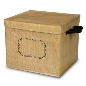 Burlap Storage Bin Box W/Lid