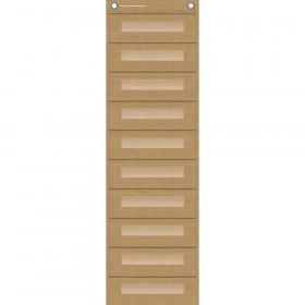 "File Storage Pocket Chart, 10 Pockets, Burlap, 14"" x 58"""