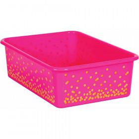 Pink Confetti Large Plastic Storage Bin