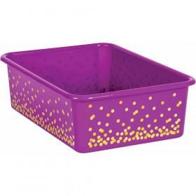 Purple Confetti Large Plastic Storage Bin