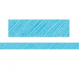 Aqua Scribble Straight Border Trim