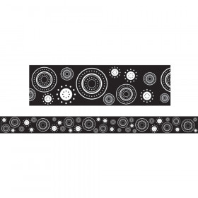 Black & White Crazy Circles Straight Border Trim