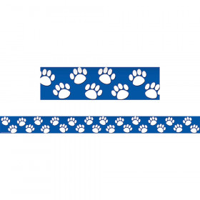 Blue with White Paw Prints Straight Border Trim