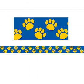 Blue with Gold Paw Prints Straight Border Trim