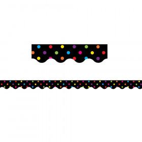 Multicolor Dots on Black Scalloped Border Trim